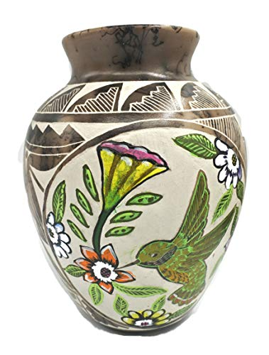 All Tribe Silver Authentic Navajo Horse Hair Pottery Hand Painted and Etched Vase Hummingbird