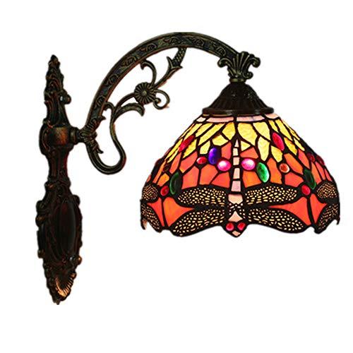 MTTK Vintage Style Tiffany Mur lumière Libellule conçu Verre Applique éclairage intérieur 20 * 36CM
