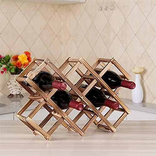 NYKK Porta Botella de Vino Botella de Vino de Madera Plegable Estante de Vino Creativo Decoración de Estante (Puede Contener 10 Botellas) Soporte para vinos
