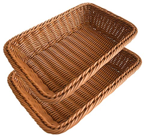 2pcs Bread Basket, BestimeX Poly-Wicker Storage Baskets, Food Fruit Vegetables Serving Baskets 12 inches