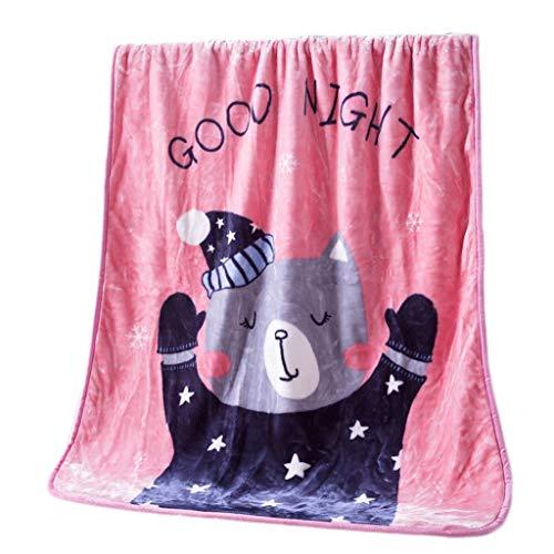 TXXM Mantas mullidas Dobles/Muchos Sizee - Manta de Colcha de vellón súper Suave Mantas de sofá Cama de Microfibra de Franela, 110 cm * 140 cm (Color : Pink-b, Size : 110cm*140cm)