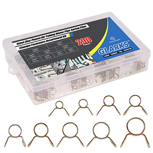 Glarks 290Pcs Fuel Line Hose Water Pipe Air Tubing Spring Clips Clamps Assortment Kit - Size 5-13MM