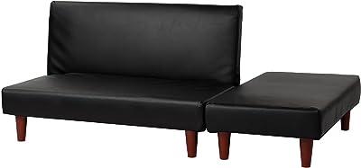 アーバン通商 セパレート シンプル ソファベッド ブラック 2人掛け 合成皮革 リクライニング 組み合わせ自由 AZ-1573