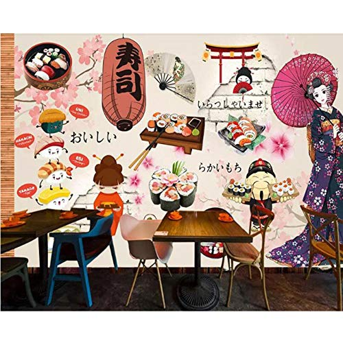 3D Wallpaper Japans eten Sushi Restaurant,Catering Gereedschap Mural Achtergrond, Wandbehang voor Woonkamer 280(W) x 180cm (H)