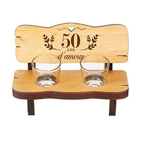 Casa Vivente Mini Banc en Bois d'Aulne avec 2 Verres à Shot, Gravure pour Les Noces d'or, 50 Ans d'amour, 16,5 x 8 x 8 CM