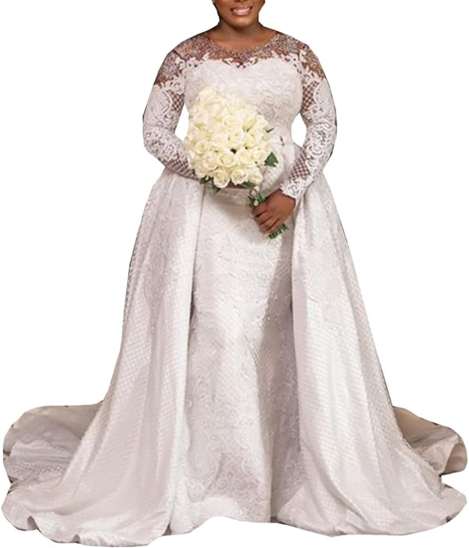 Long Sleeves Bridal Gowns with Detachable Train Lace up Corset Mermaid Wedding Dresses for Bride Plus Size