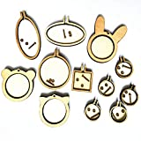 Oexper 12 Sets DIY Mini Wood Embroidery Hoop Tiny Ring Embroidery Circle Wooden Frame Miniature Mini Cross Stitch Hoop for Frame Craft Favors