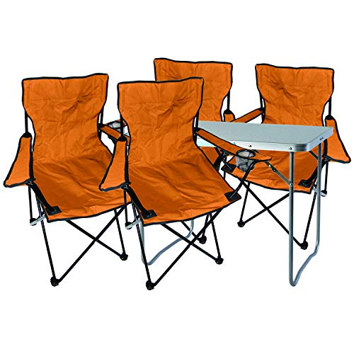 Mojawo  - Multistore 2002 - Juego de Muebles de Camping (Aluminio, 80 x 60 x 68 cm, 1 Mesa de Camping con asa y 4 sillas Plegables), Color Naranja