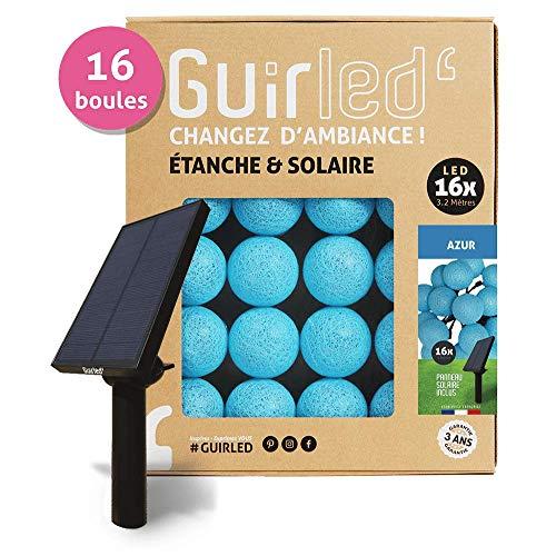 Guirlande d'extérieur boules lumineuses LED - Étanche IP65 - Panneau solaire haut rendement - ON/OFF automatique - 16 boules - Azur