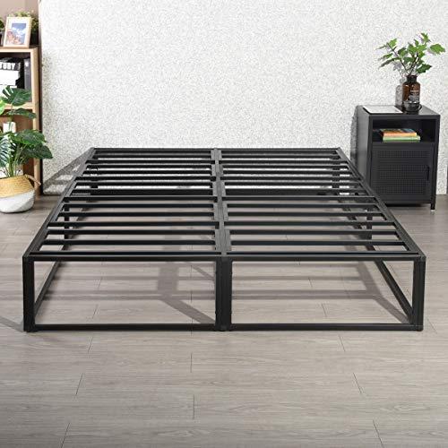 HOMYLIN Marco de cama de metal de 150 x 200 cm, para cama de matrimonio, cama de matrimonio o individual, sin herramientas, base de colchón, estructura estable de acero, color negro
