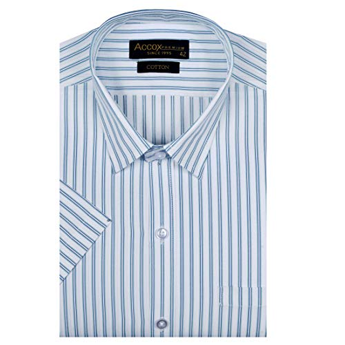 ACCOX Men's Striped Half Sleeves Regular Fit Cotton Formal Checkred Shirts(GCR05)