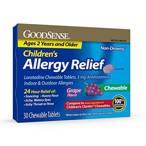 GoodSense Children's Allergy Relief, Loratadine Chewable Tablets, 5 mg, Antihistamine, 30 Count