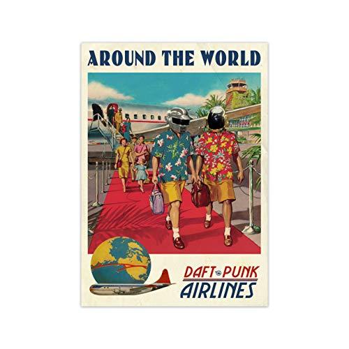 """Poster musicale dei Daft Punk """"Around The World"""", rétro, con cornice, decorazione per la casa, da parete"""