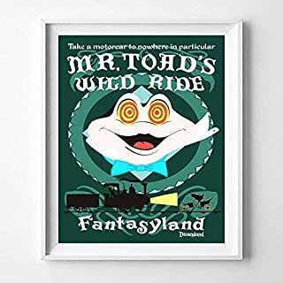 Disneyland Mr.Toad's Wild Ride Fantasyland Wall Art Poster Home Decor Print Vintage Artwork Reproduction - Unframed