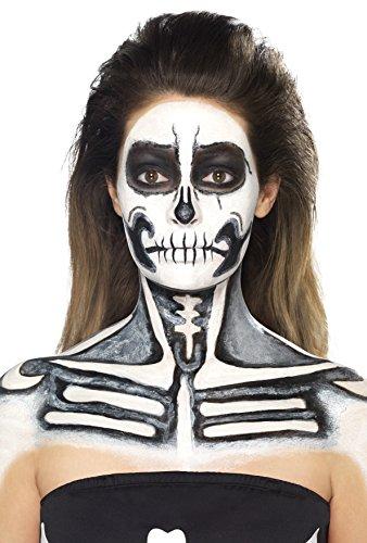 Smiffys Kit de esqueleto con látex líquido, con cajas de maquillaje blanco y negro y 2 e
