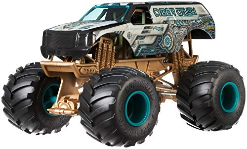 Hot Wheels Monster Trucks Cyber Crush die-cast 1:24 Scale Vehicle with Giant Wheels for Kids Age 3 to 8 Years Old Great Gift Toy Trucks Large Scales