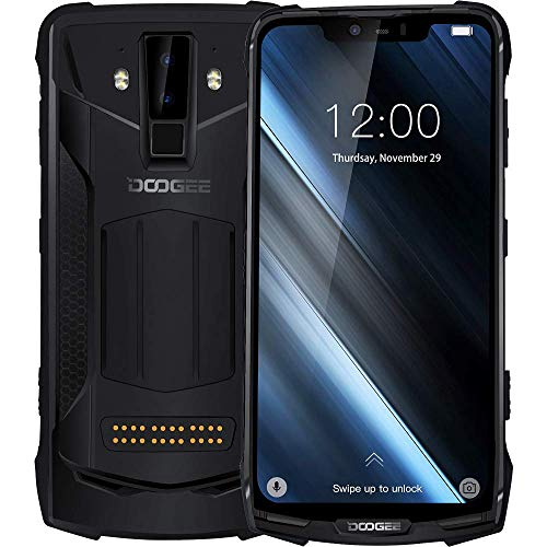 DOOGEE S90 - Outdoor Android 8.1 Smartphone (5050mAh Batterie), Helio P60 Achtkern 6GB+128GB, 6.18'' FHD + Display, IP68/IP69K wasserdicht/stoßfest, 16MP+8MP Smart AI Kamera - Schwarz