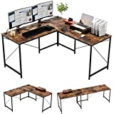 Bestier Industrial L-Shaped Gaming Desk, 95.2' Large 2 Person Office Corner Desk, Adjustable L Shaped or Long Desk with Free Monitor Stand, Home Writing Computer Desk Build-in Cord Management, Rustic