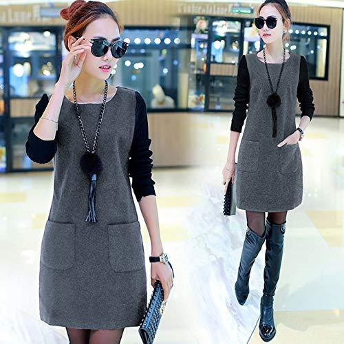 Huaheng vrouwen nep twee stukken jurk trui ronde hals lange mouwen herfst outfits 3XL Grijs