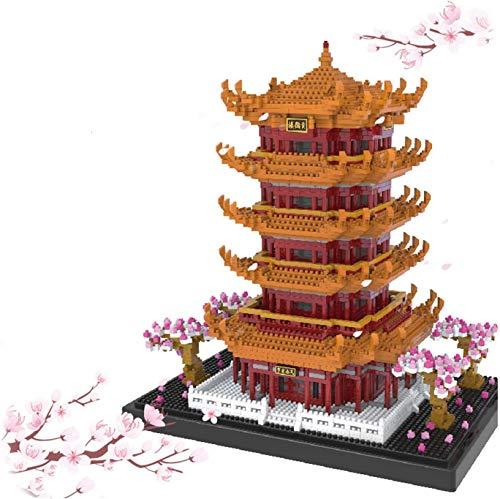 YZHM World Famous Architecture Mini Block, Torre Amarilla con Flores de Cerezo Bloques de construcción Micro Diamond Modelo Educativo Ladrillos Toys Regalos