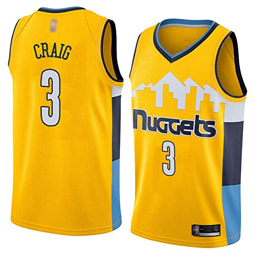 HS-XP Denver Nuggets De Los Hombres # 3 Torrey Craig NBA Basketball Jersey, Ocio Quick-Secking Transpirable Suelto, Camisa De Chaleco Sin Mangas,Amarillo,XXL(185~190cm)
