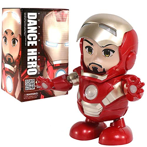 Royala Mini Iron Man Dancing Robot Prime Play como Dedos Vengadores Juguetes con música Figura de acción Coleccionables niños Niños Chicas Juguetes de Regalo