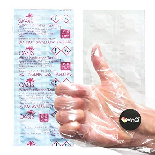LevinQ Puritabs Rudergerat mit Wassertank 10X Chlortabletten Handschuhe, Gegen Algen, Jahresbedarf, Water Purification Tablets, Puritabs, Oasis Chlor Tabletten Wasser Rower