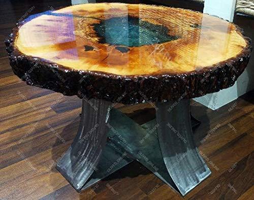 Oliveo Holz - Mesa de café de Madera Natural con Resina epoxi y Madera, Modelo Individual para ordenar Sala de Estar, Muebles, Mesa