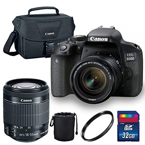 entry level slrs Canon EOS 800D/Rebel T7i Digital SLR Camera with 18-55 is STM Lens Black - Essential Accessories Bundle