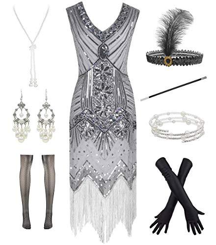 Vestido con flecos y escote en V Gatsby 1920s para cóctel con accesorios de plumas de los años 20 - Gris - Small