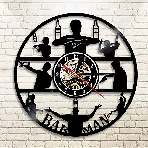 1 Pieza es Hora de Beber Vinilo Reloj de Pared con Registro Barman CervezaNegro Reloj Colgante Club decoración Hombre Cueva Taberna