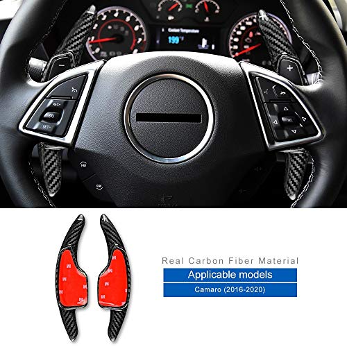 Autodekoration FLUGGESCHWINDIGKEIT for Chevrolet Camaro 2016 2017 2018 2019 2020 Zubehör Carbon-Faser-Auto-Lenkrad-Paddel-Shifter-Abdeckung Aufkleber (Color : Black Carbon)