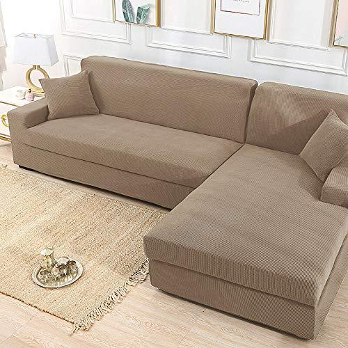 Home and Garden Khaki Stretch Elastischer Sofabezug Solide Rutschfest Weich Schonbezug Waschbar Couch Möbel Schutz für Wohnzimmer (Farbe: 3)