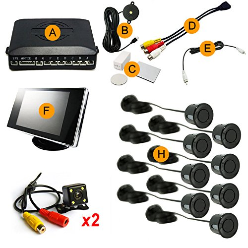 Lowest Prices! FEELDO Car 8 Sensors/4-LED CCD Camera/3.5 Monitor Front&Rear Dual View Parking Senso...