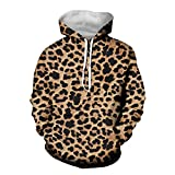 HUGS IDEA Long Sleeve Pullover Sweatshirts Hoodies for Men Teenager with Brown Leopard Print Graphic Crewneck Blouse Cool Shirts