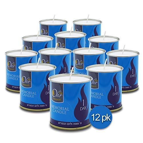 Vela Yahrzeit de 1 día, paquete de 12 unidades, 24 horas Kosher Yahrtzeit Memorial y Yom Kippur Vela en soporte para taza de lata