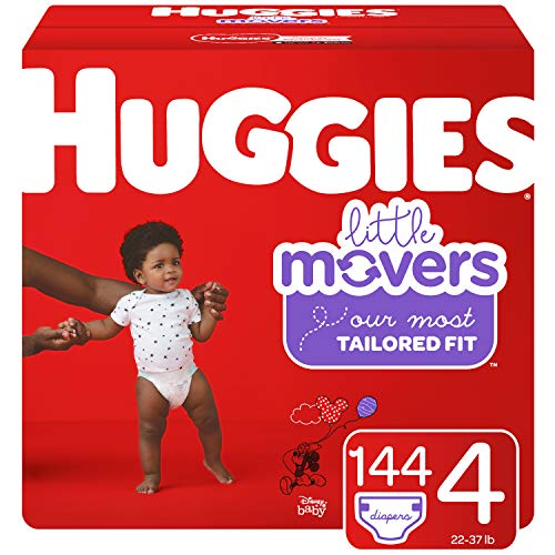 Huggies Little Movers Baby Diapers, Size 4, 144 Ct, One Month Supply, Packaging May Vary