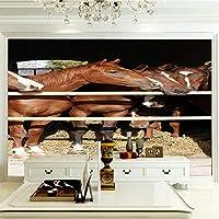 ZCLCHQ 壁紙壁画壁壁画カスタム壁壁画壁紙 茶色の馬 壁画寝室リビングルームの背景写真の壁紙3D SIZE:350x250cm