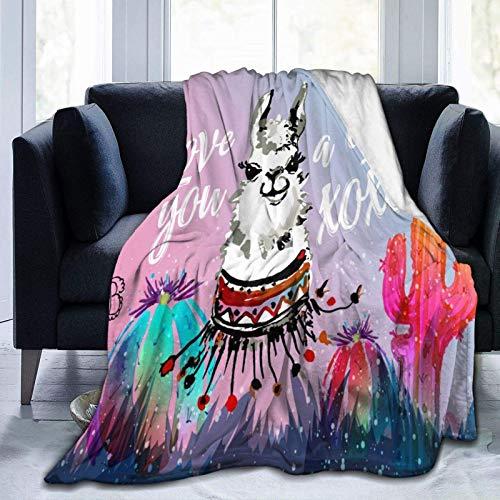 Manta De La Siesta Felpa Sofás Franela Manta de Cactus y Llama como extensión/Colcha/Cubierta Suave,cálida y acogedora 80'x60' Buen sueño Warm Lightweight Fleece Cozy Blanket