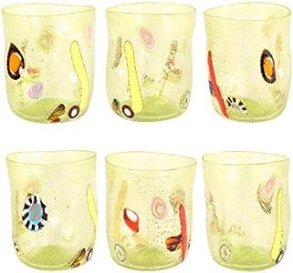 Vasos de Cristal de Murano con murrina millefiori y Hoja Plateada, Juego de 6 Unidades, Hechos a Mano en Horno Veneciano, auténticos y Resistentes