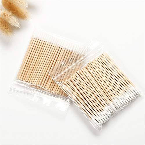 Cadeau de fête des mères 100 pièces de coton-tige de nettoyage avec des poignées en bois applicateur de coton bâtons de maquillage stérile jetable outil de suppression cosmétique, brosse à