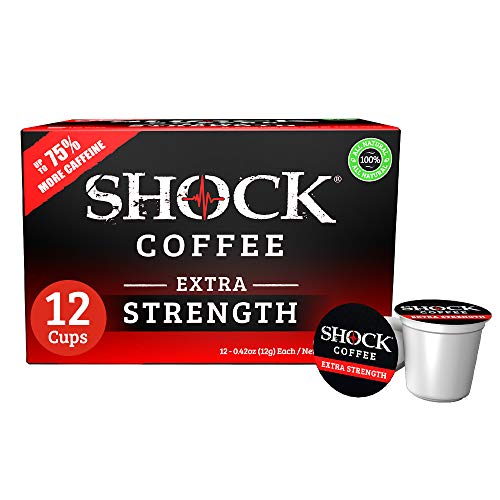 Shock Coffee Extra Strength Single Serve Cups. Up to 75% more Caffeine than Regular Coffee. 12 count - Compatible with Keurig K-Cup Brewers 2.0
