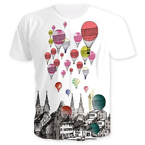 XIAOBAOZITXU T-shirt 3D-digitale print korte mouwen ronde hals heren en dames liefhebbers kleding heteluchtballon losse sportmode groot T-shirt