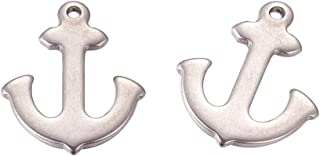 arricraft 10pcs Original Color Stainless Steel Anchor Pendants Blank Stamping Tag Charms for Bracelet Necklace Making