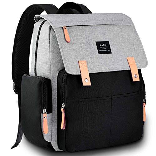 VAKKER Bolsa de pañales, bolsa de maternidad, multifunción, bolsas de pañales para bebé, niña, impermeable, de gran capacidad, bolsa de pañales para bebé gris, azul, blanco