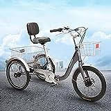 OHHG Triciclo Plegable Adultos, Bicicleta 3 Ruedas, Triciclo Adultos 7 velocidades, Bicicleta Crucero Cesta Gran tamaño Compras recreativas