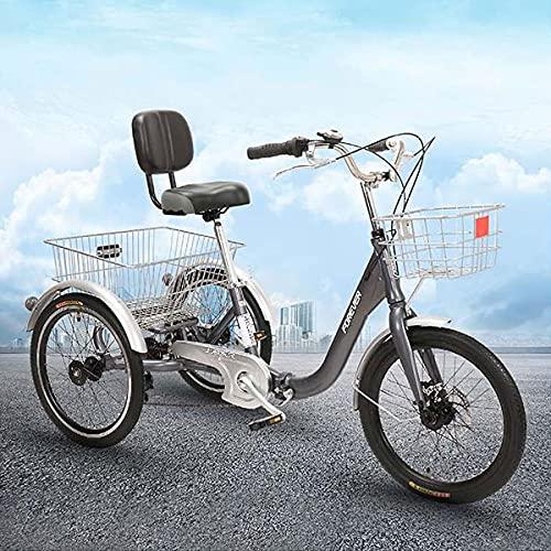OHHG Bicicleta Plegable Crucero Tres Ruedas Cesta Carga Triciclo Adultos 7 velocidades...
