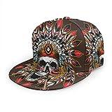Nicokee Chief Skull Hat Baseball Cap Indian American Native Apache Arrow Bone Demon Pirate Satan Adjustable Flat Snapback Hats Ball Hat Sport Hat for Men and Women
