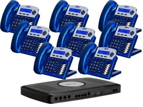 Xblue XB2022-28-VBX16 6-Line Small Office Phone System with 8 Vivid Blue X16 Telephones - Auto Attendant, Voicemail, Caller ID, Paging & Intercom