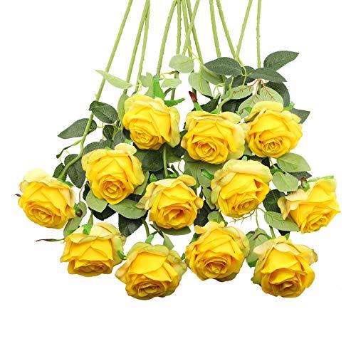 Decpro 12Pcs Rose Artificiali, 19,7'' Fiore Finto Fiore di Seta a Stelo Lungo Singolo per Mazzi di Nozze Nuziali, Decorazione Hotel Ufficio Festa in Casa, Centrotavola(Giallo sfumato)